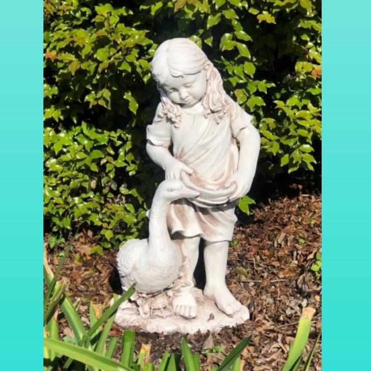 Girl with her Duck 66cm Garden Statue