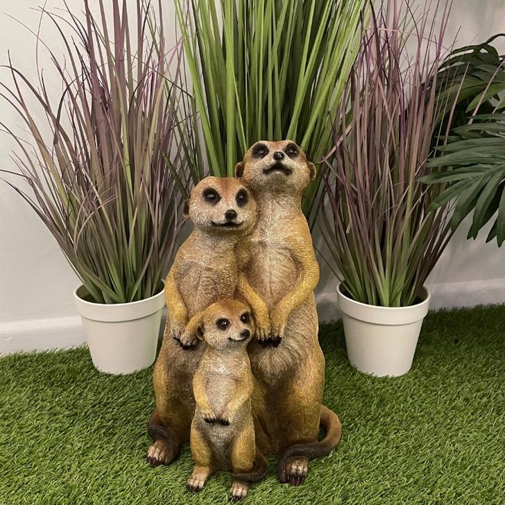 Meerkat Standing Family Garden Statue 35cm