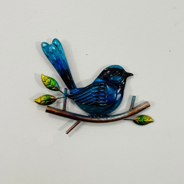 Blue Fairy Wren On A Branch Metal Wall Art 22cm