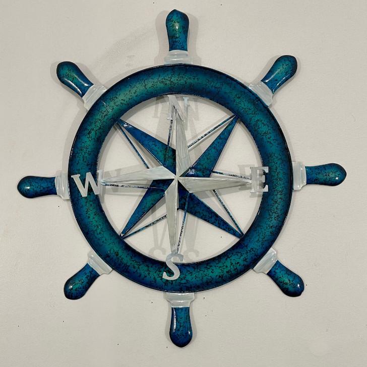 Nautical Ship Wheel Metal Wall Art 53cm