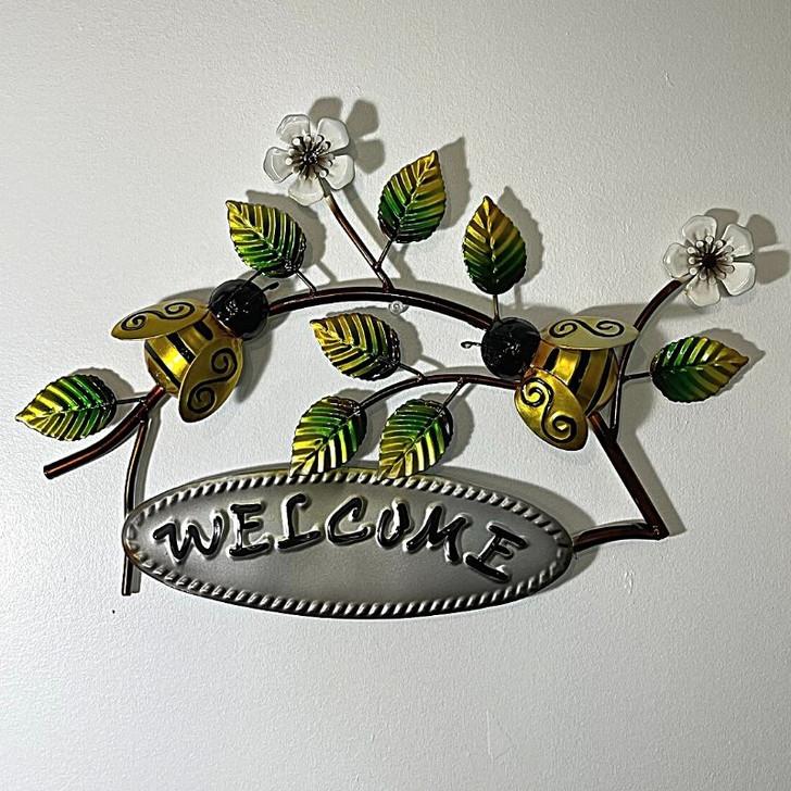 Bee Welcome Metal wall Art