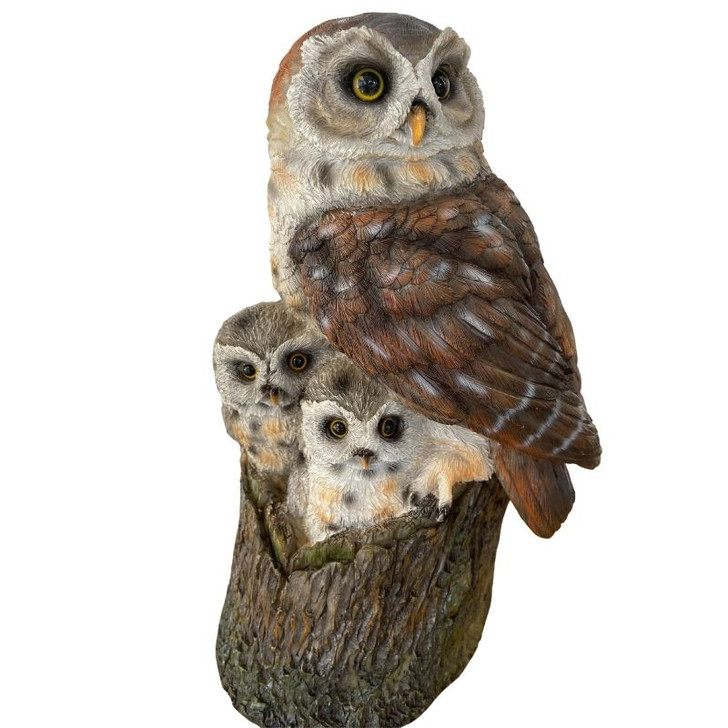 Brown Owl Family  Garden Statue 30cm