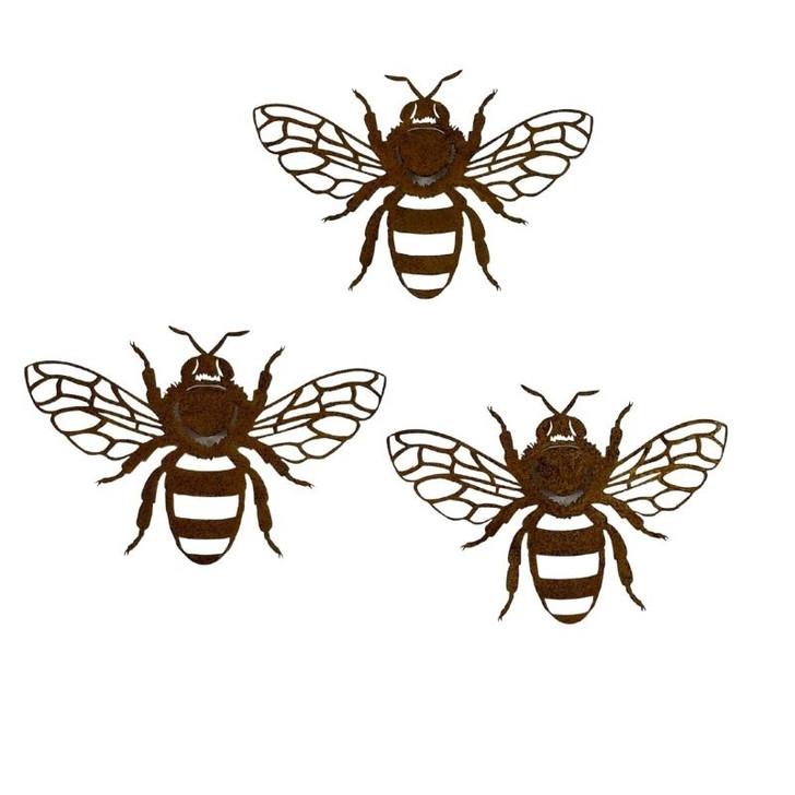 Bumble Bees Set Of Three Metal Wall Art 31cm