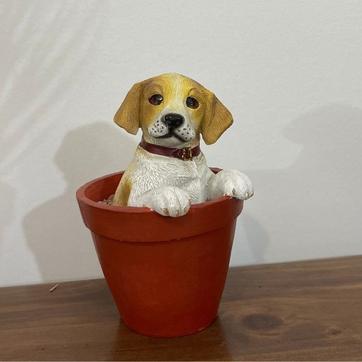 Jack Russell in pot ornament statue 16cm