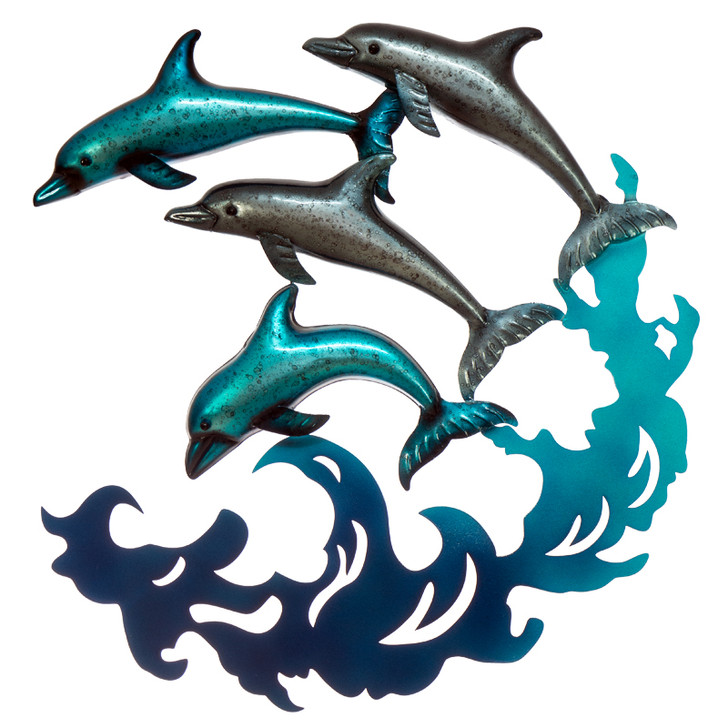 Pod Of Dolphins Wave Metal Wall Art