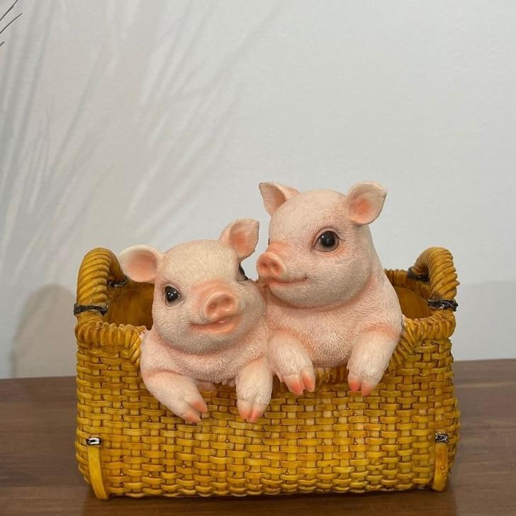 Pigs In Basket Statue 22cm