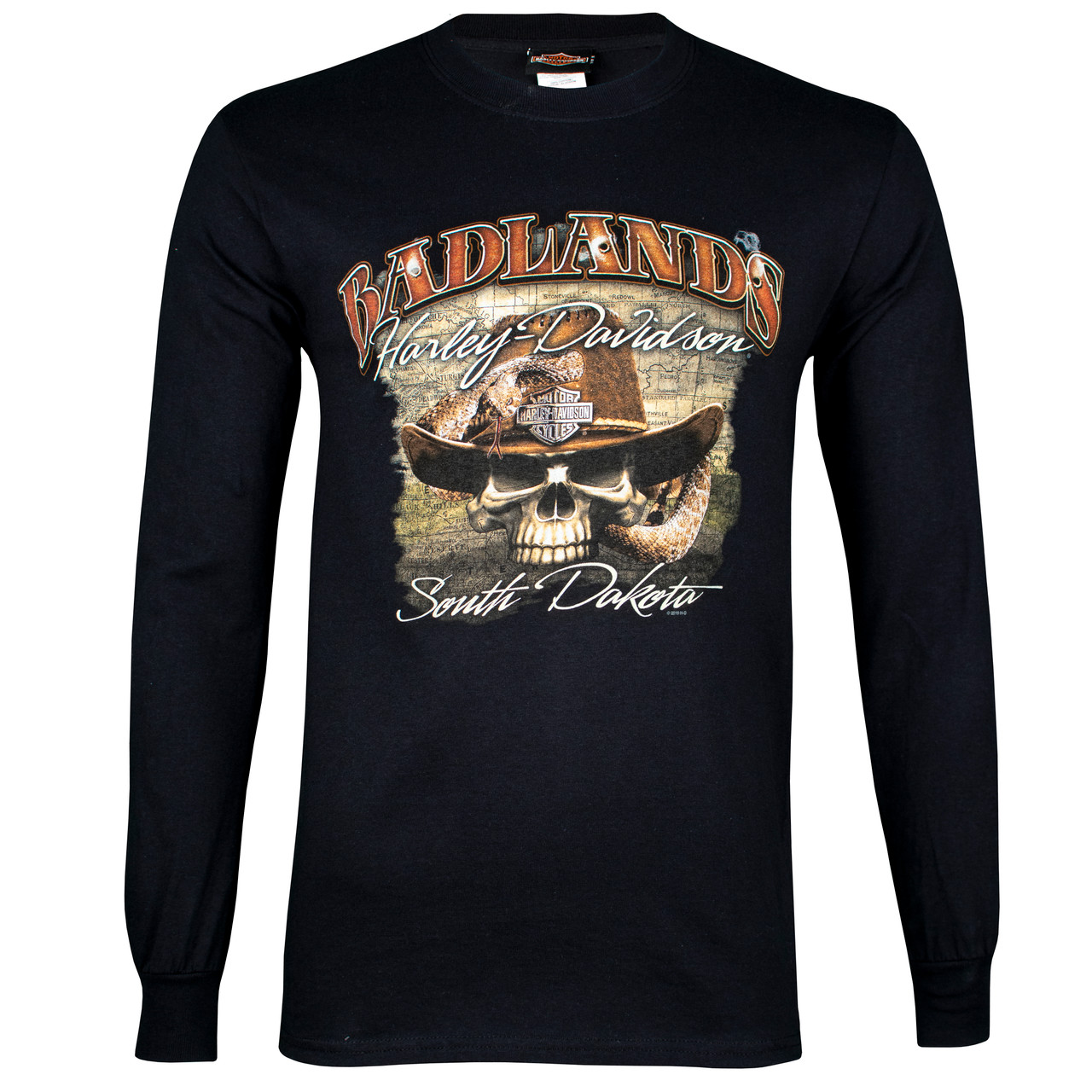 Badlands Harley-Davidson® Men's Badlands Skull Long Sleeve T-Shirt