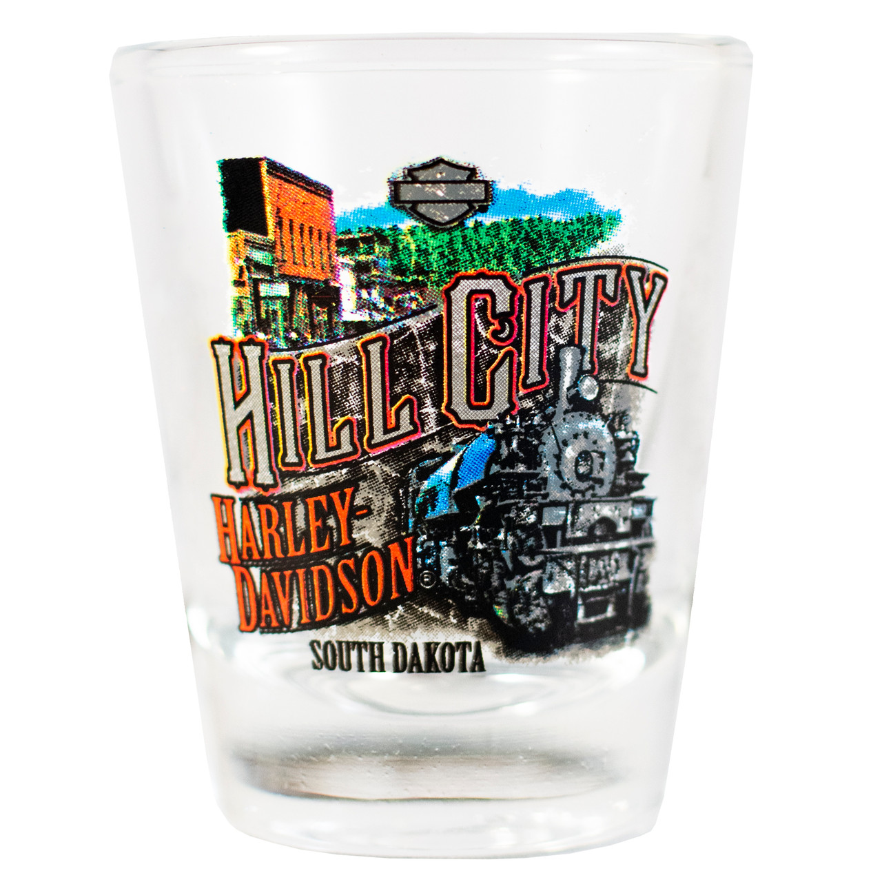 Hill City Harley-Davidson Vintage Collage Short Shot Glass