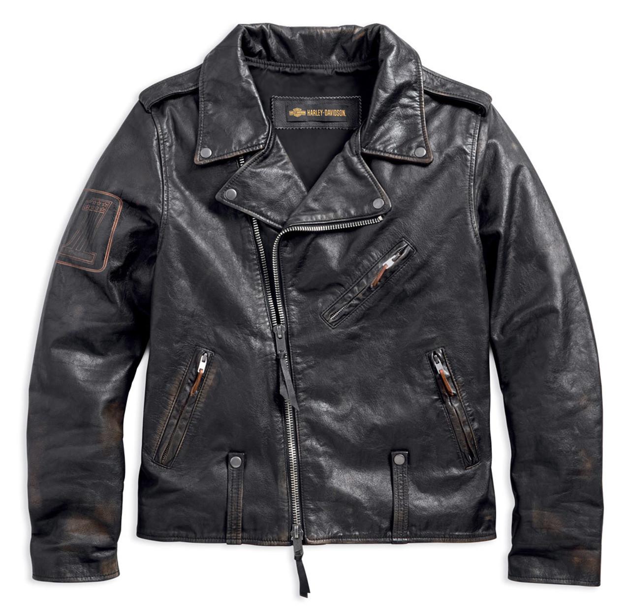 Harley-Davidson Men's Master Distressed Slim Fit Leather Biker Jacket 98003-18VM