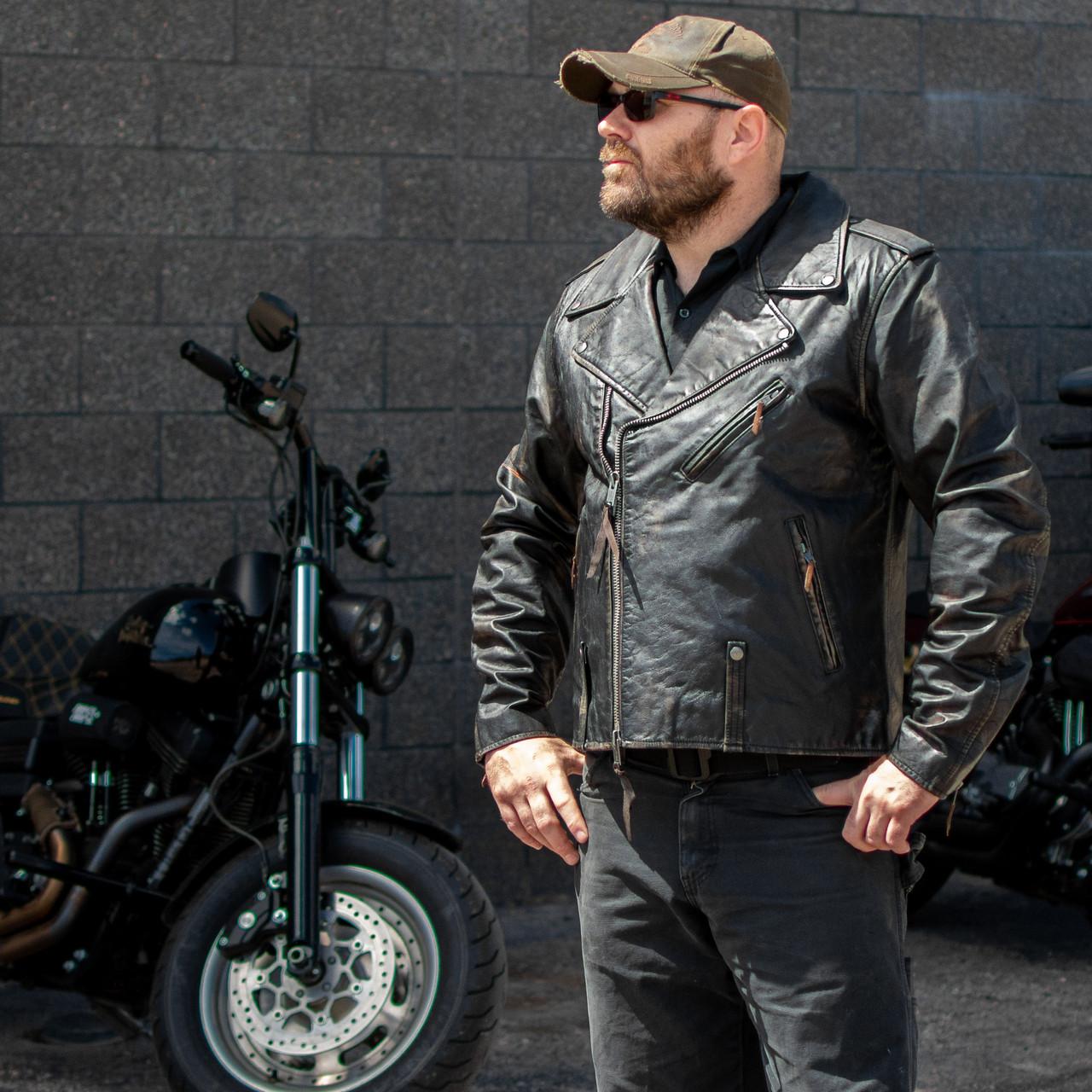 Harley-Davidson Official Men/'s  Distressed Slim Fit Leather Biker Jacket 2XL