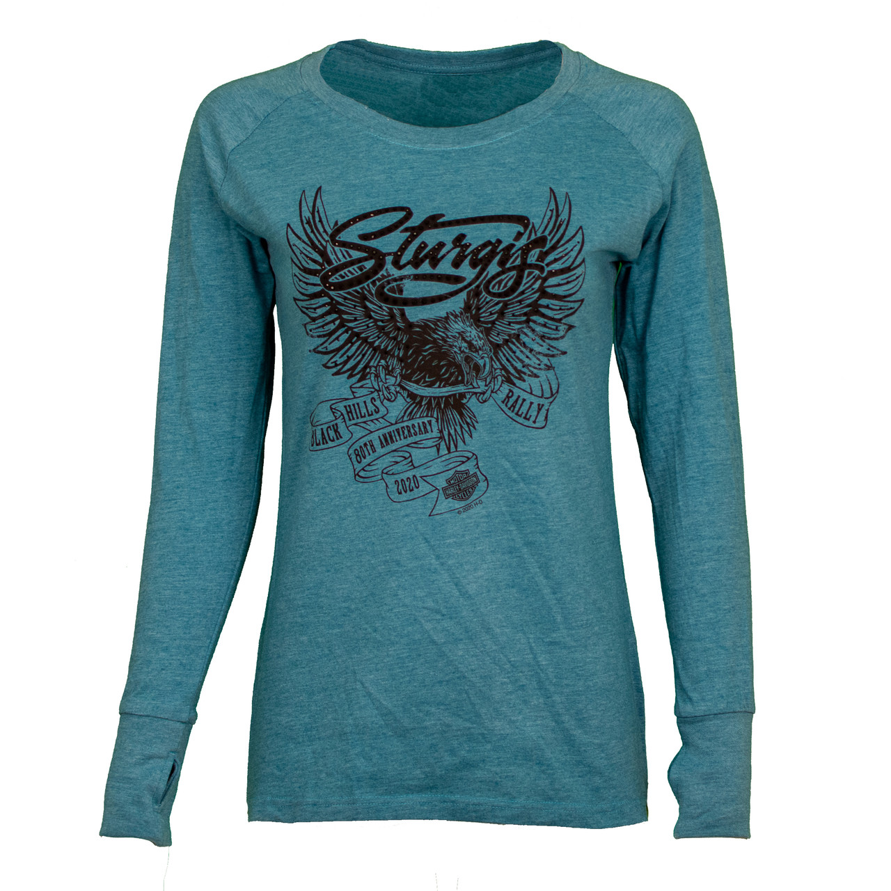 Official 2019 Sturgis Motorcycle Rally Ladies Good Vibes V-Neck Silver Long Sleeve SILVER Small