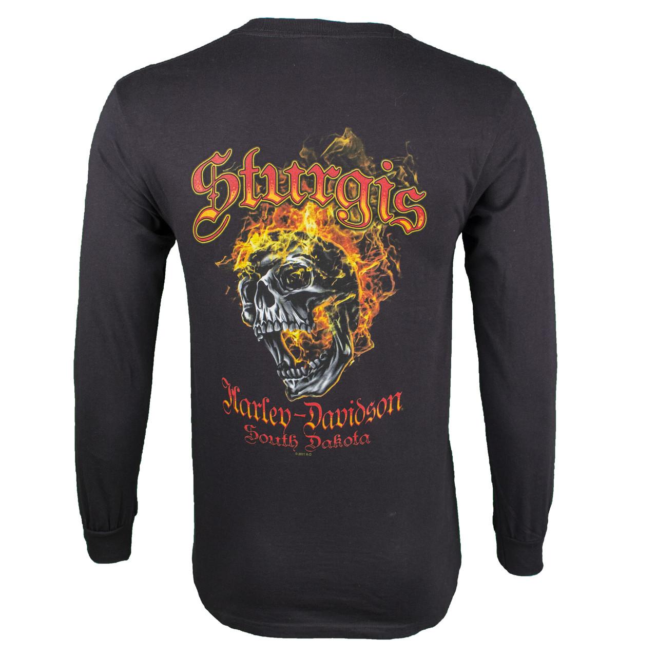 Sturgis Harley-Davidson® Men's Skull Edgy Black Long Sleeve T-Shirt