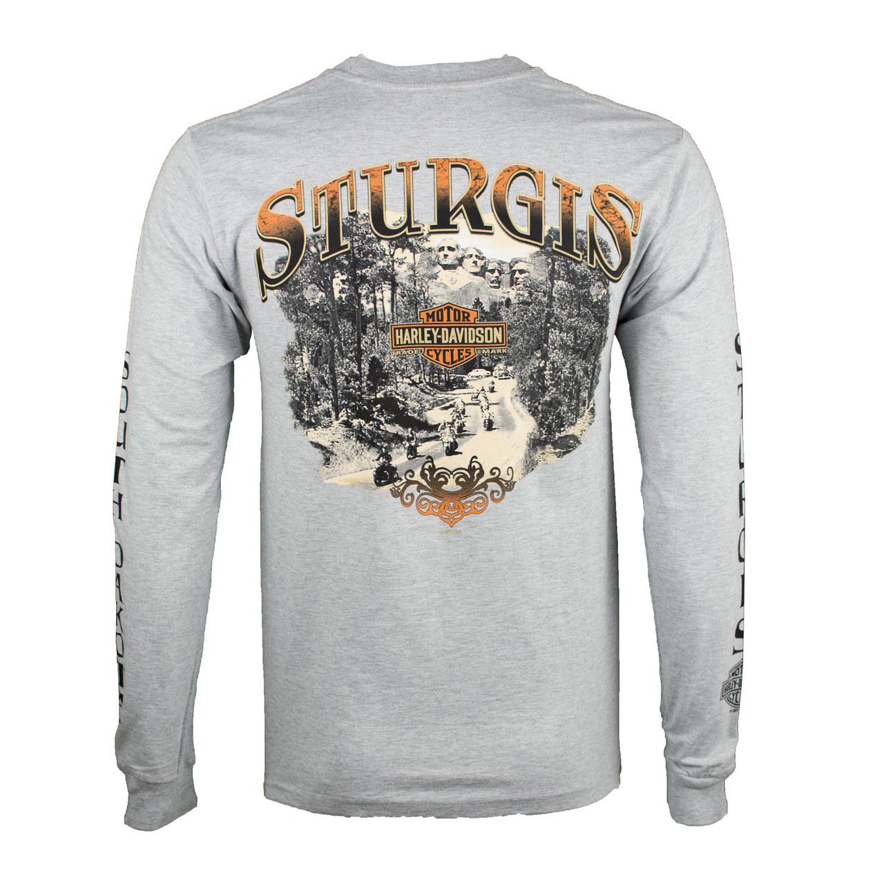 Sturgis Harley-Davidson® Men's Riding Scene Light Wash Grey Long Sleeve T-Shirt
