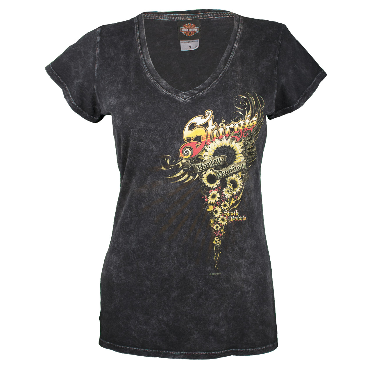 Sturgis Harley-Davidson® Women's Sunflower Black Mineral Wash Short Sleeve T-Shirt