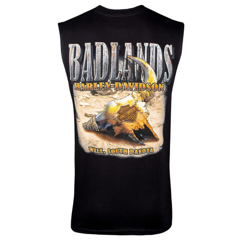 Badlands Harley-Davidson® Men's Metal Buffalo Black Sleeveless T-Shirt