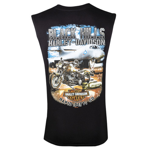Black Hills Harley-Davidson® Men's Bomber Black Sleeveless T-Shirt