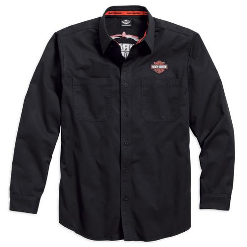 Harley-Davidson® Men's Pinstripe Flames Black Long Sleeve Woven Shirt