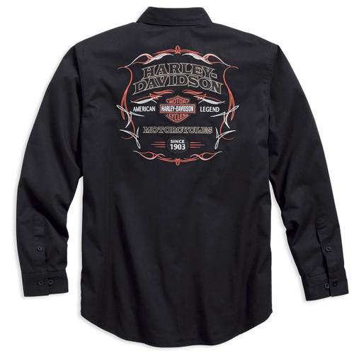 Harley-Davidson® Men's Pinstripe Flames Black Long Sleeve Woven Shirt