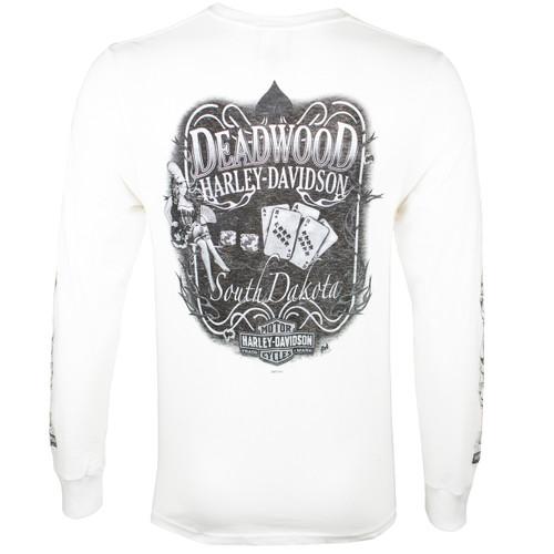 Deadwood Harley-Davidson® Men's Spade Pin Up White Long Sleeve T-Shirt