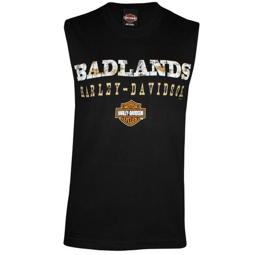 Badlands Harley-Davidson® Men's Badlands Road Black Sleeveless T-Shirt