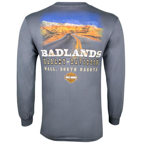 Badlands Harley-Davidson® Men's Badlands Road Charcoal Long Sleeve T-Shirt