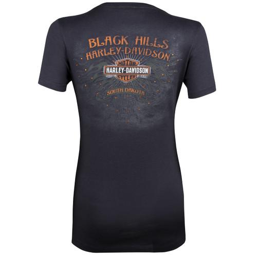 Black Hills Harley-Davidson Women's Sketched Wings Short Sleeve T-Shirt
