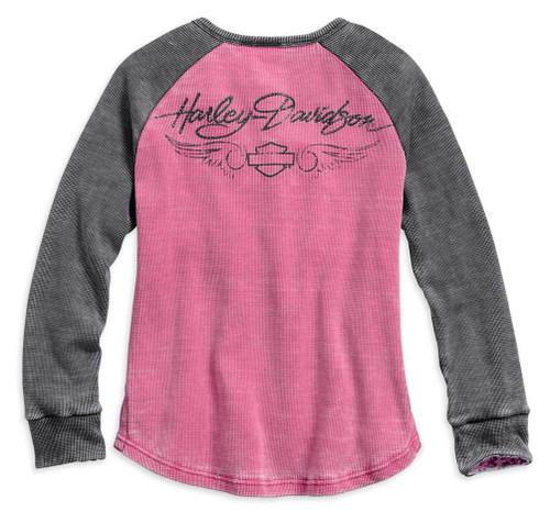 Harley-Davidson Women's Pink Label Waffle Knit Henley 99145-17VW