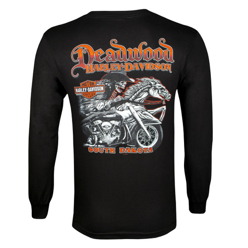 Deadwood Harley-Davidson® Men's Skull Rider Black Long Sleeve Shirt
