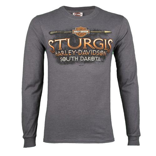 Sturgis Harley-Davidson® Men's Arrowhead Charcoal Long Sleeve Shirt