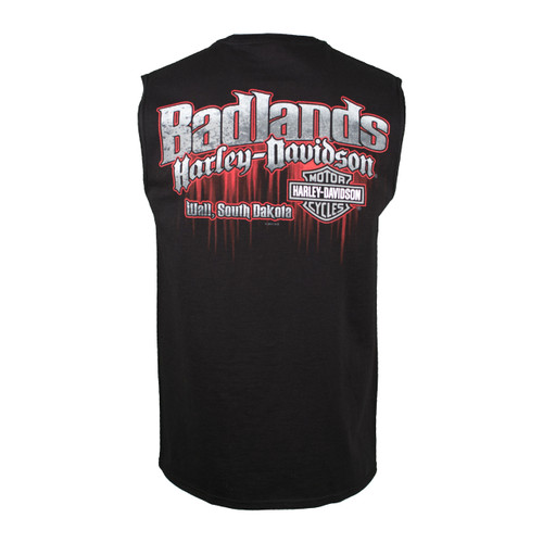 Badlands Harley-Davidson® Men's Edge Black Sleeveless T-Shirt