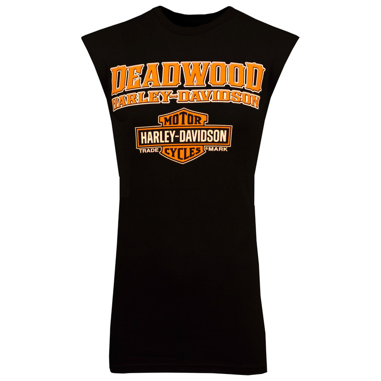 Deadwood Harley-Davidson® Men's Panning For Gold Black Sleeveless T-Shirt