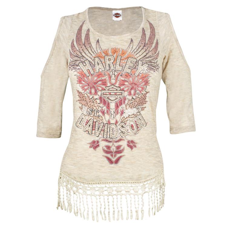 Harley-Davidson® Women's Floral Americana Embellished Cold Shoulder Shirt