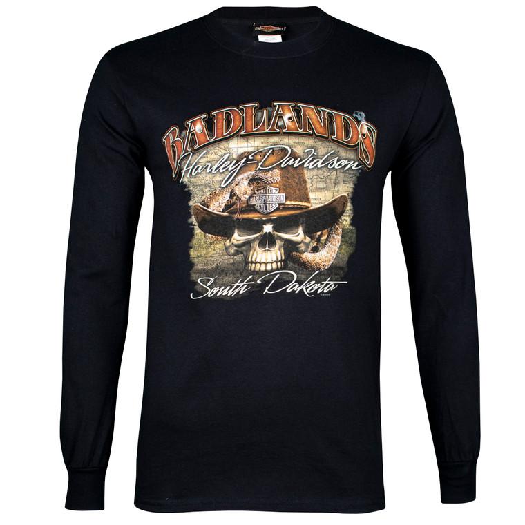 Badlands Harley-Davidson® Men's Badlands Skull Long Sleeve T-Shirt