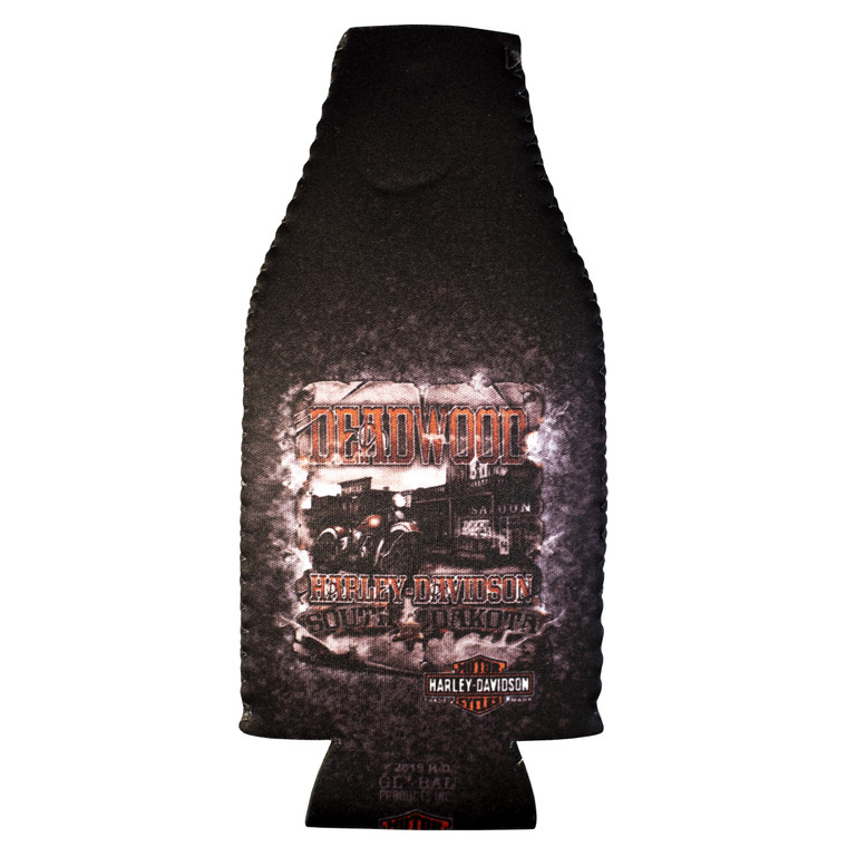 Deadwood Harley-Davidson® Vintage Saloon Zip Bottle Coozie