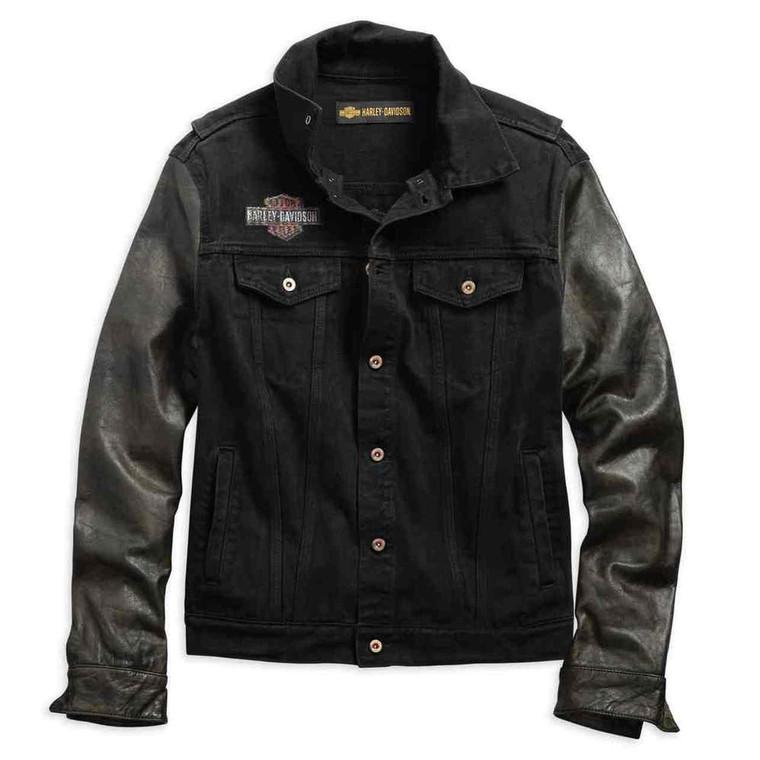 Harley-Davidson® Men's Leather Sleeve Slim Fit Denim Jacket 99183-19VM