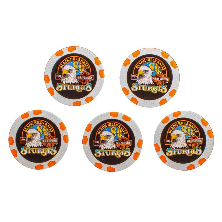 2020 Harley-Davidson® 80th Rally Pack of 5 Poker Chips (Sturgis, Black Hills, Deadwood, Badlands, Hill City)