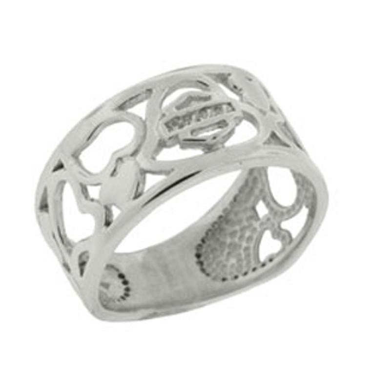 Harley-Davidson® Women's Multi Heart Platinet Ring