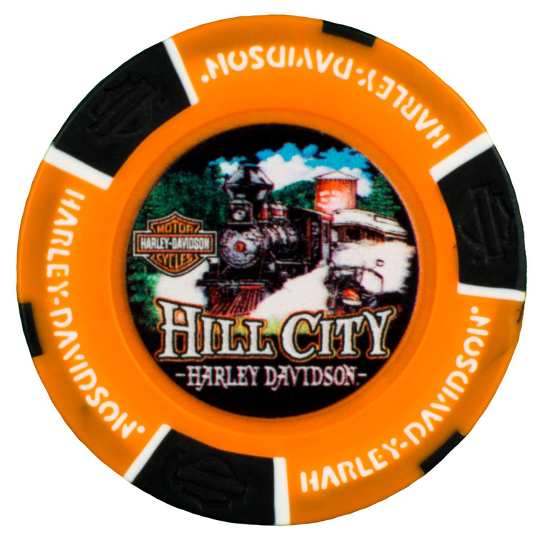 """On the front of this chip is a full-colored graphic of the famous 1880 Train traveling through the Black Hills. Yearly, the 1880 Train provides a vintage steam experience for thousands of tourists who visit the Black Hills from Hill City to Keystone. You will also see a Harley-Davidson® motorcycle quietly admiring the power of another """"iron horse"""" as the train rolls by. The reverse side lets you know where this H-D® experience comes from…Hill City Harley-Davidson® in Hill City, SD. This is a white chip stamped on both sides of the rim with black H-D® bar and shield emblems trimmed in gold and gold Harley-Davidson® words circling the chip.  Made and printed in the U.S.A."""