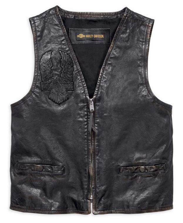 Harley-Davidson® Men's Iron Distressed Slim Fit Leather Vest 98009-18VM