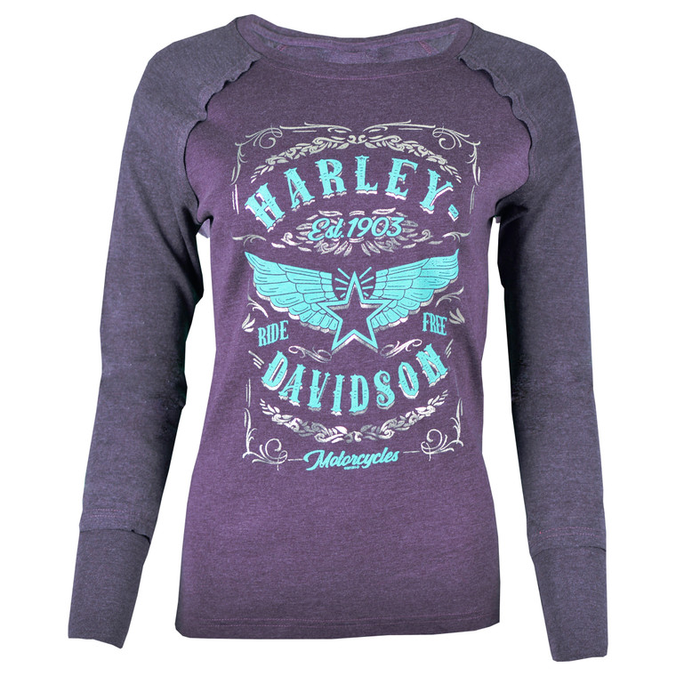 Black Hills Harley-Davidson® Women's Keystone Purple Intuition Long Sleeve T-Shirt