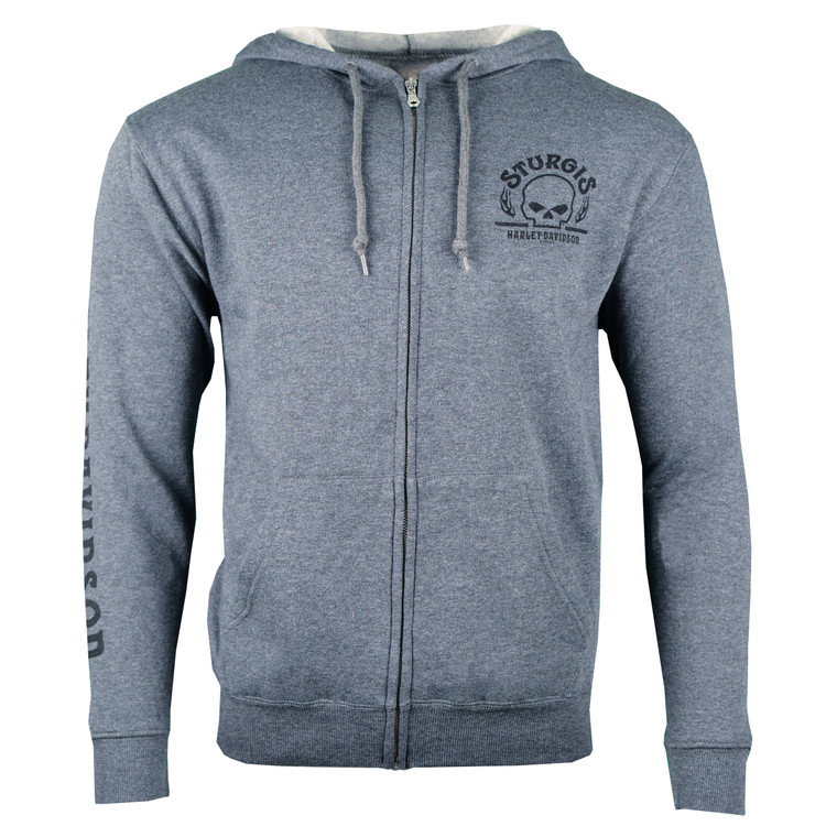 Sturgis Harley-Davidson® Men's Charcoal Arched Zip-Up Hoodie Sweatshirt