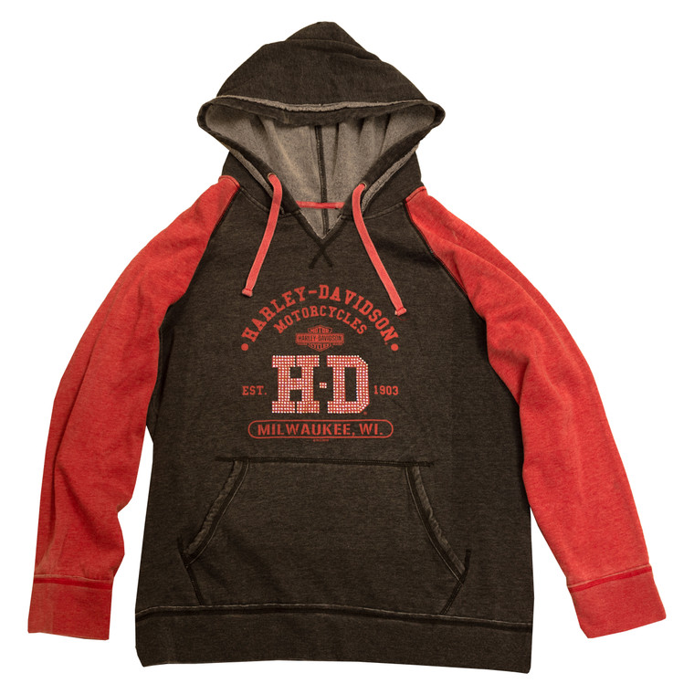 Sturgis Harley-Davidson® Women's Grey & Red University Pull Over Sweatshirt Hoodie
