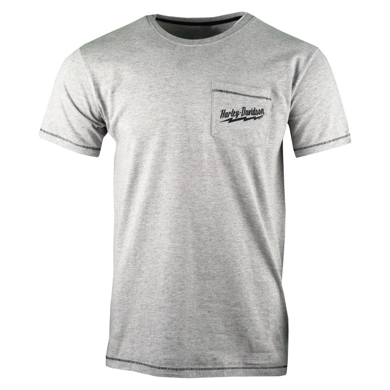 Sturgis Harley-Davidson® Men's Grey Power Drill Pocket Short Sleeve T-Shirt