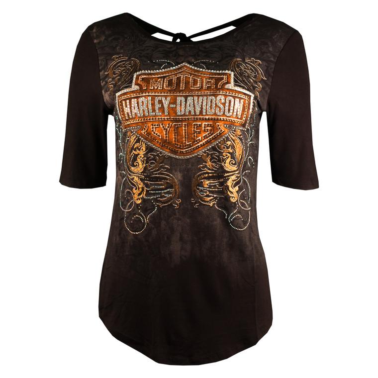 Harley-Davidson® Women's Black Alchemy 1/2 Sleeve Shirt