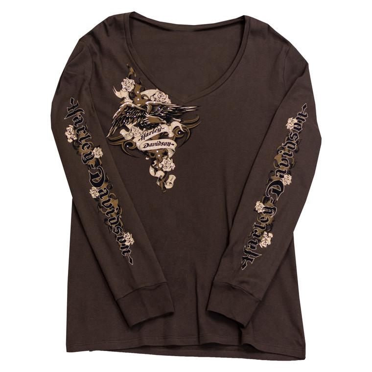 Sturgis Harley-Davidson® Women's Coffee Rose Long Sleeve T-Shirt