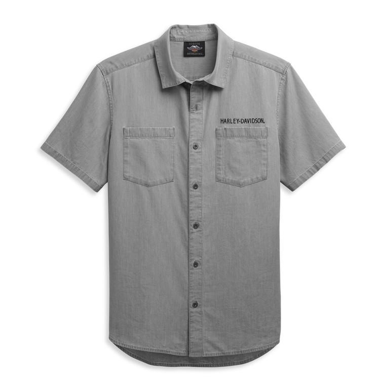 Harley-Davidson® Men's Bar & Shield Logo Denim Shirt 96447-21VM