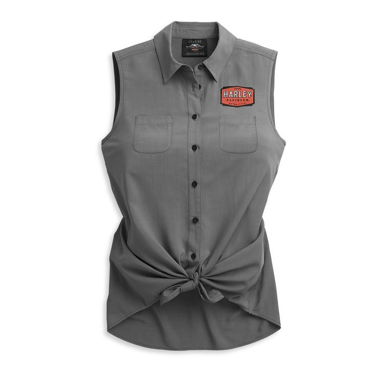 Harley-Davidson® Women's Logo Tie Front Shirt 96493-21VW
