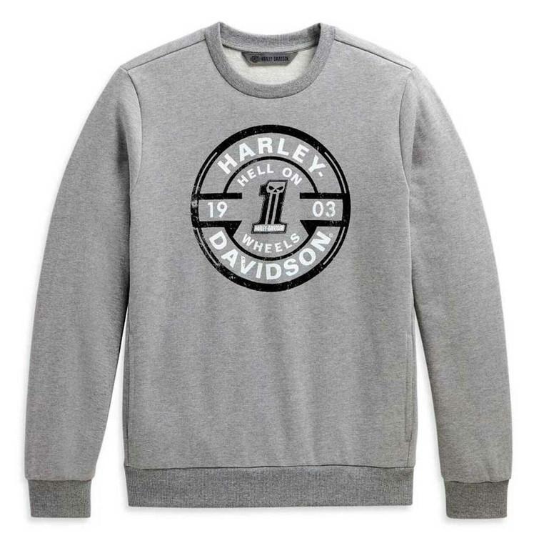 Harley-Davidson® Men's Circle Skull Slim Fit Pullover Sweatshirt, Gray 98638-20VM