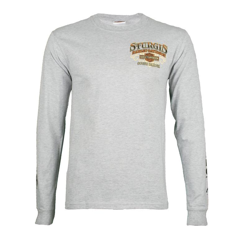 Sturgis Harley-Davidson® Men's Riding Scene Light Wash Grey Long Sleeve T-Shirt