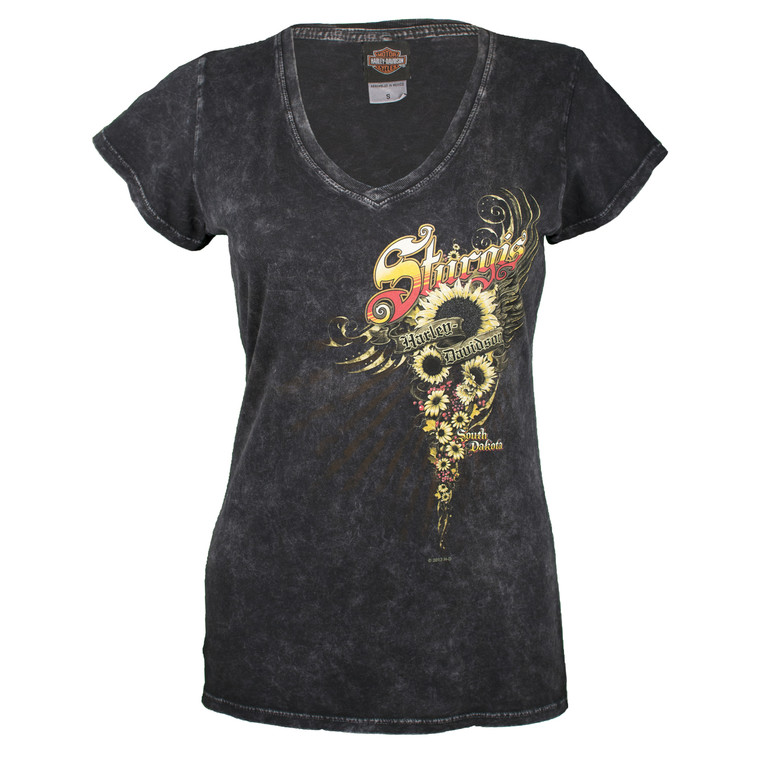 Sturgis Harley-Davidson® Women's Sunflower Black Mineral Wash Short Sleeve T-Shirt
